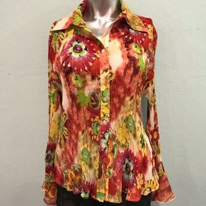 Multicolor button up great for 70s theme costume